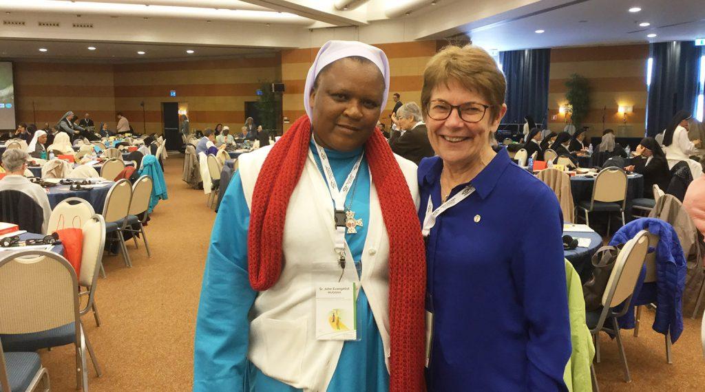 Sister John Evangelist Mugisha and Patty Fawkner