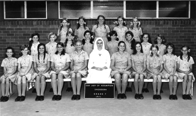 Marie McMahon SGS in a class photo with Grade 7 students from Our Lady of Assumption Enoggera, 1971